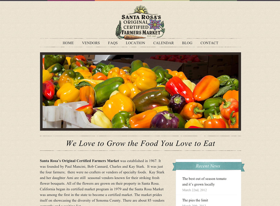 Santa Rosa Farmers Market Website