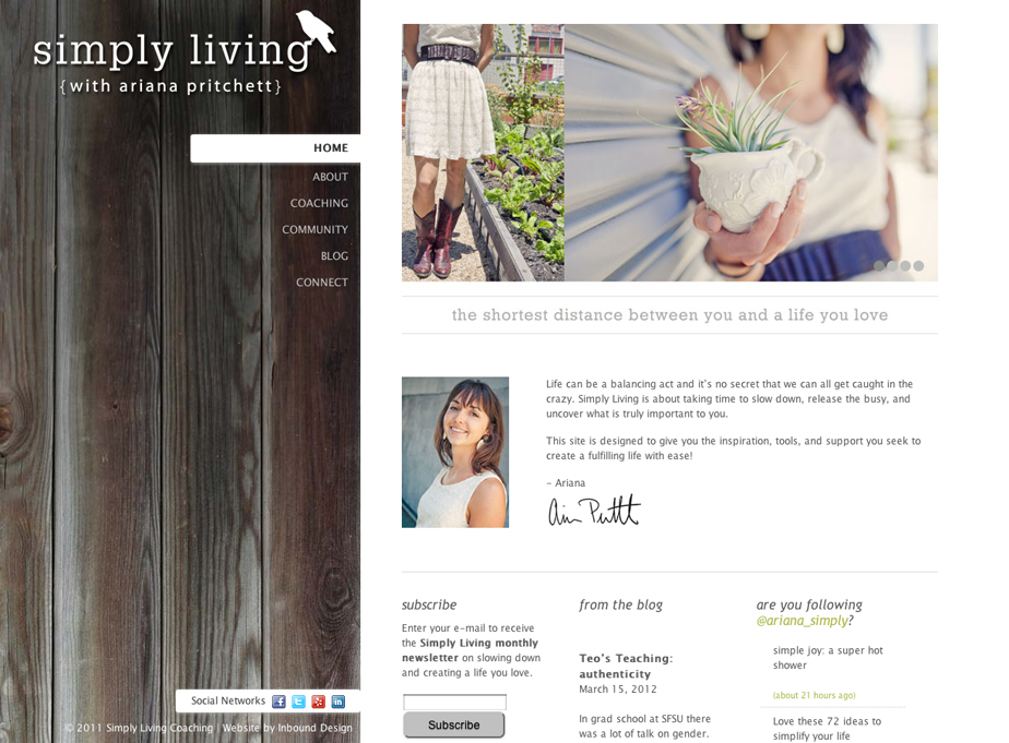 Simply Living Coaching Website
