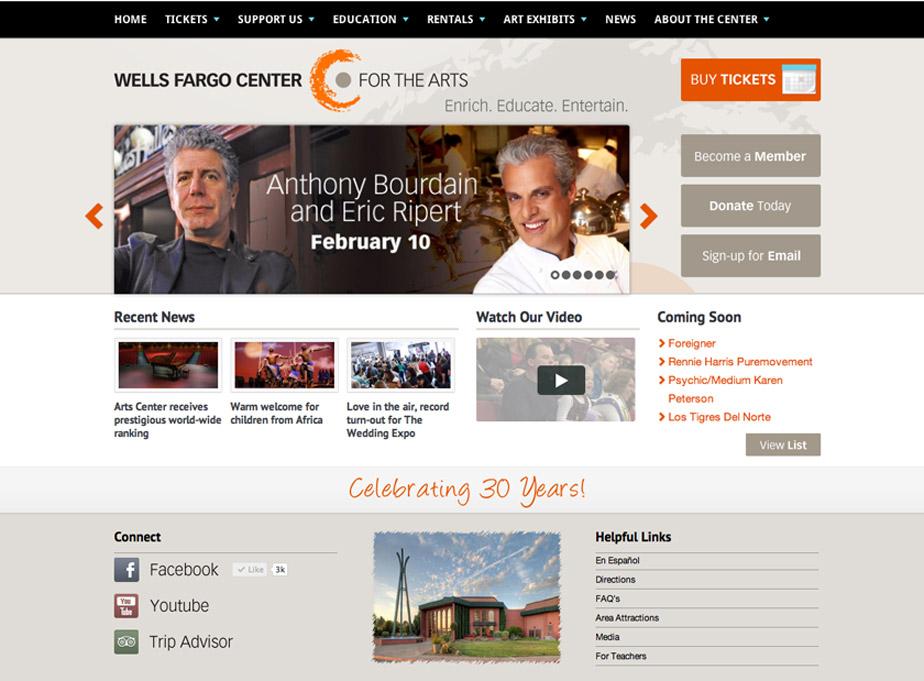 Wells Fargo Center for the Arts Website